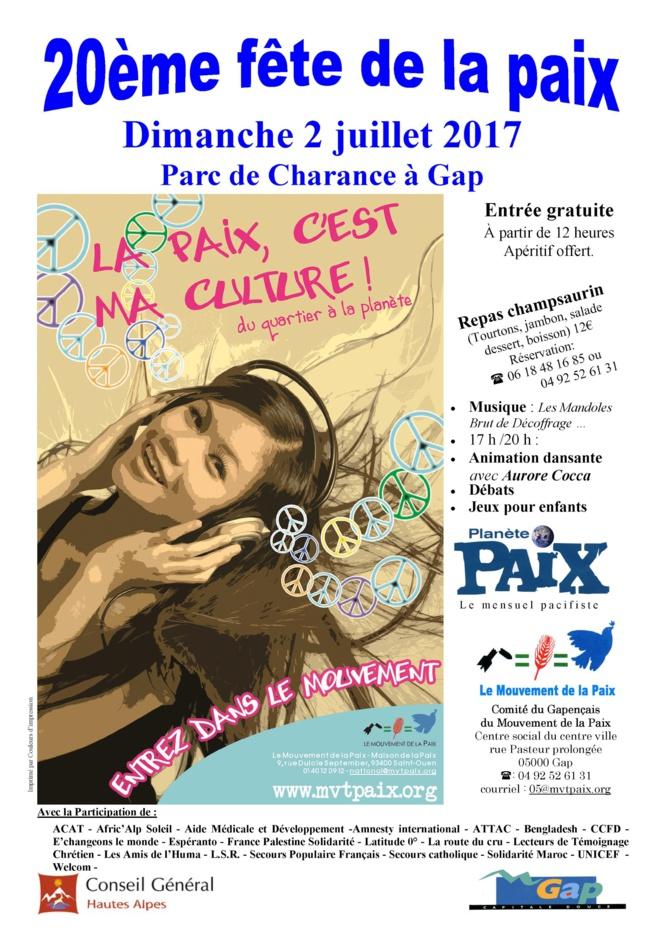 La Fête de la paix a lieu dimanche à Gap