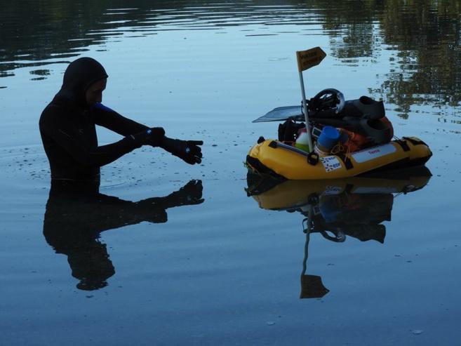 Nelly Kars au 10ème jour de nage (lac d'Esparron)
