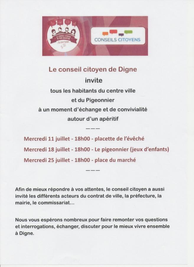 Echanges autour d'un verre de partage pour le conseil citoyen de la ville de Digne-les-Bains