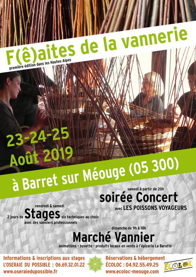 Venez fêter la Vannerie du 23 au 25 août à Barret-sur-Méouge !