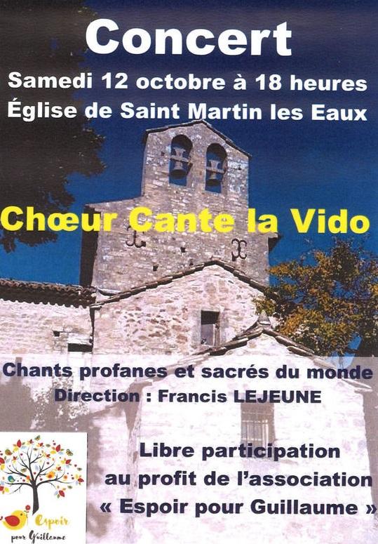 Concert vocal solidaire samedi à St Martin les Eaux