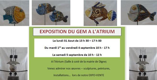 Le GEM expose à l'Atrium du 31 août au 5 septembre