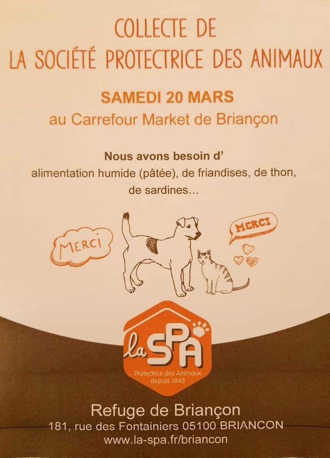 Une collecte au profit des animaux de la S.P.A le 20 mars