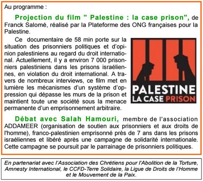 L'AFPS 04 évoque le sort des milliers de prisonniers palestiniens en Israël.