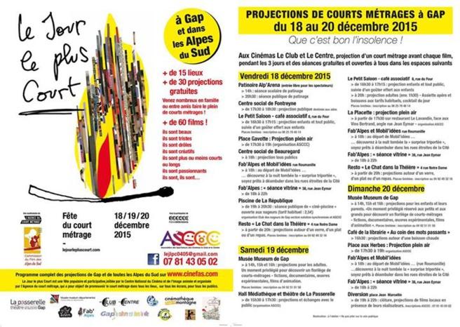 Le Festival Le Jour Le Plus Court c'est la fête du court métrage à Gap