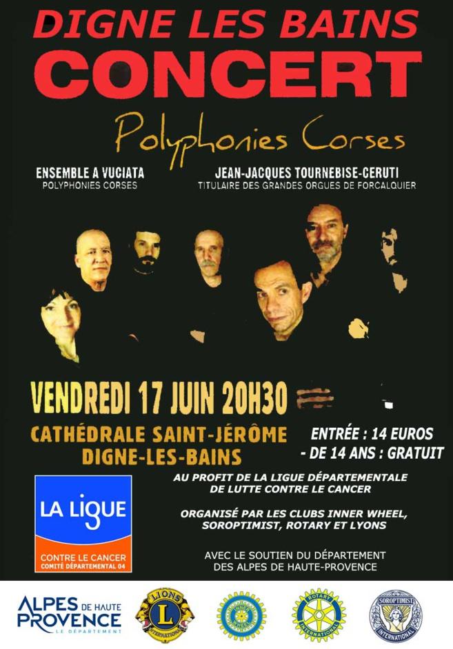 A Digne-les-Bains une soirée contre le cancer avec un groupe de chanteurs Corses.