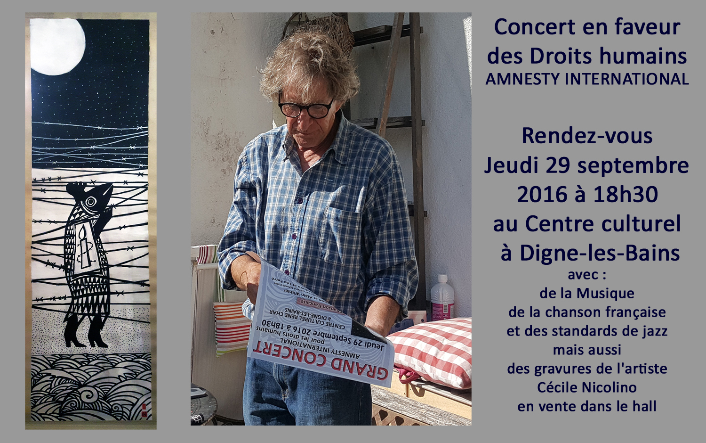 Gérard Schmit-Valat pianiste mais également militant pour AMNESTY INTERNATIONAL depuis de longues années