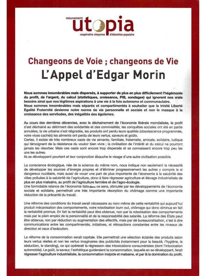 L'appel d'Edgar Morin pour une prise de conscience solidaire