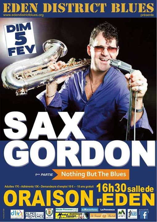 Sax Gordon en concert dimanche 5 février à la salle de l'Eden d'Oraison