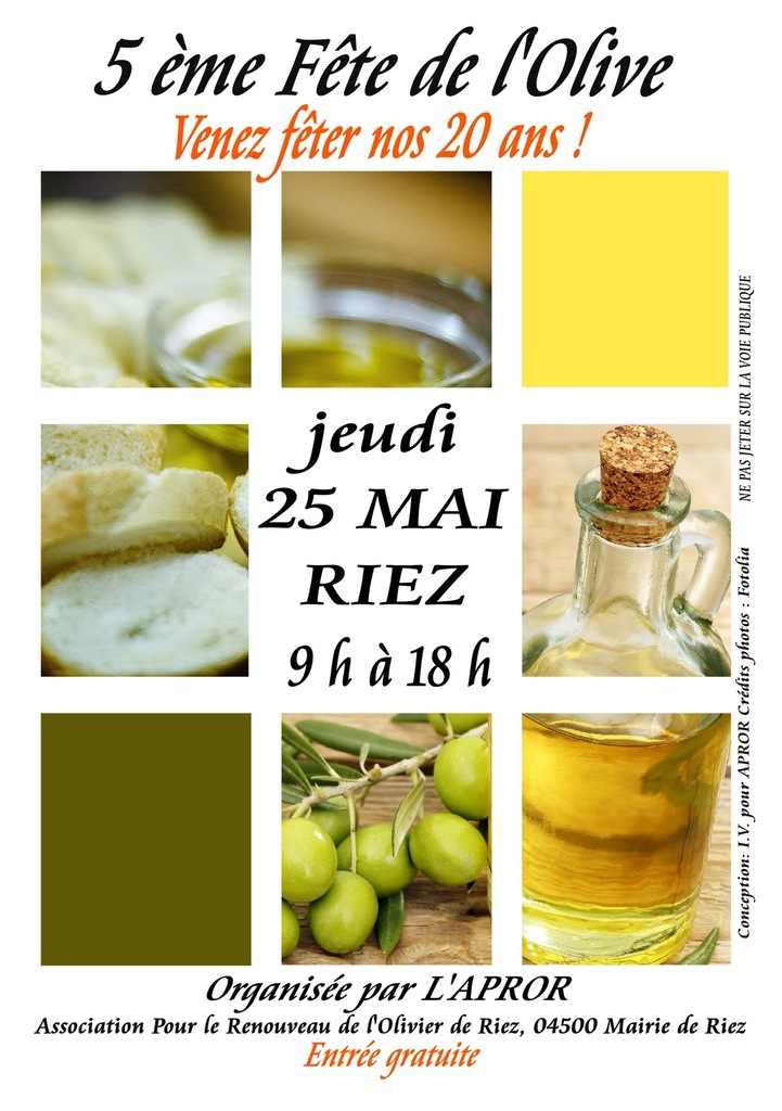 La fête de l'olive à Riez Jeudi 25 mai 2017