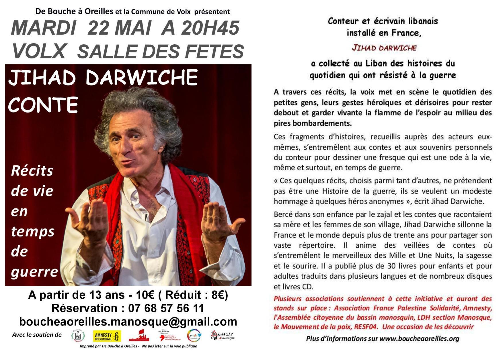 Le conteur Jihad Darwiche à Volx le mardi 22 mai