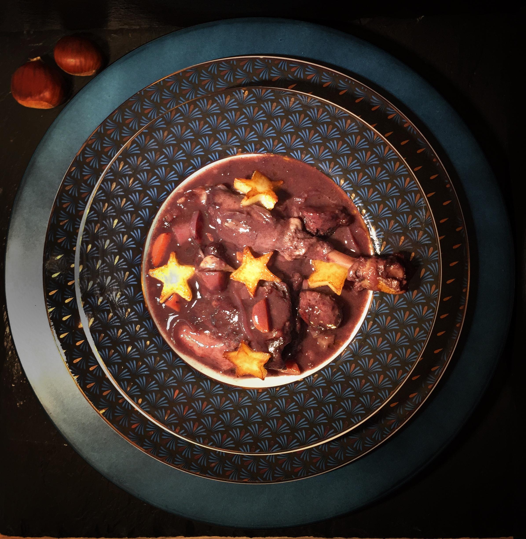 Mijoté de canard de Forcalquier au vin rouge de Pierrevert et aux épices de Noël