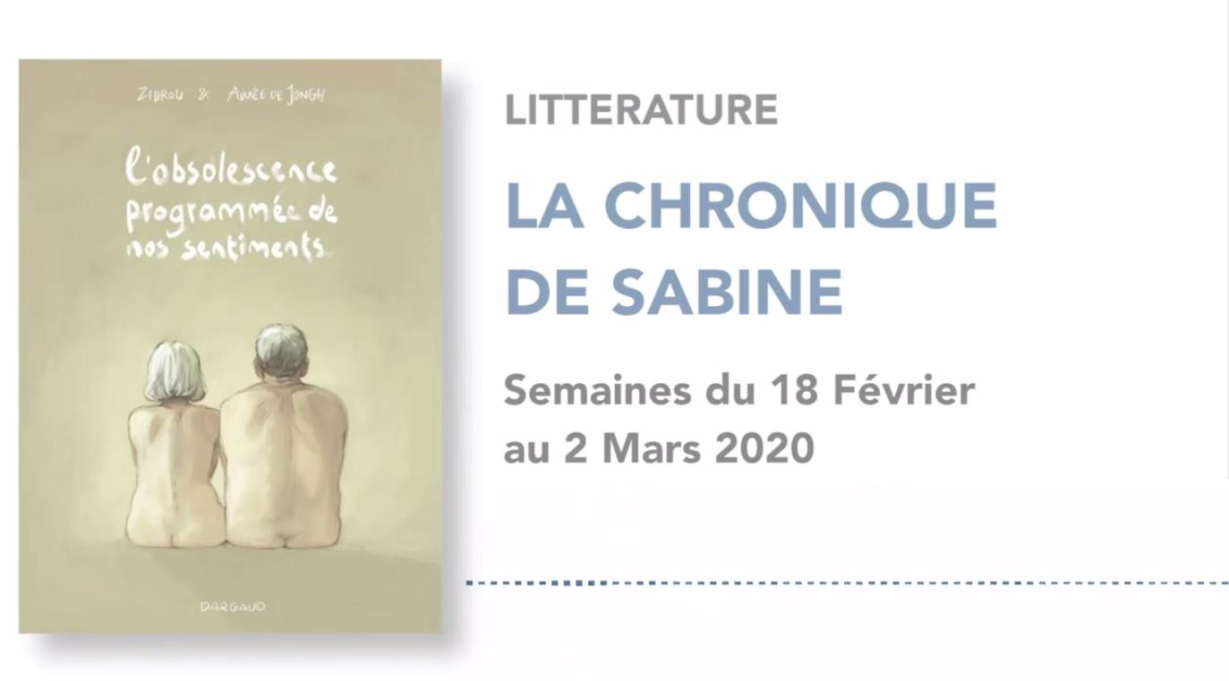 La Chronique de Sabine du 22 Février 2020