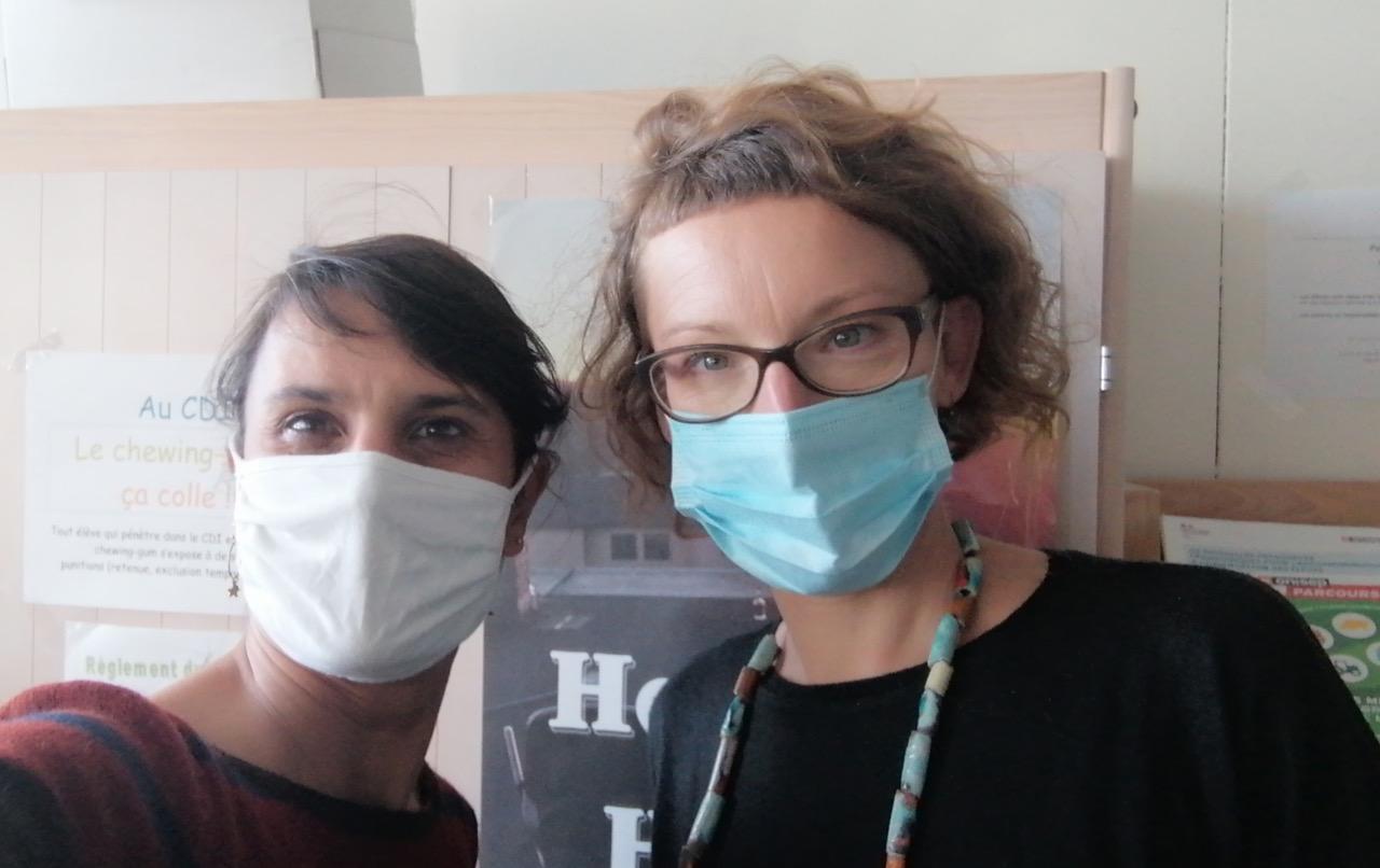 Initiatrices du projet : Laetitia Croce (professeure documentaliste) et Valérie Brayda Brun (professeure de lettres)