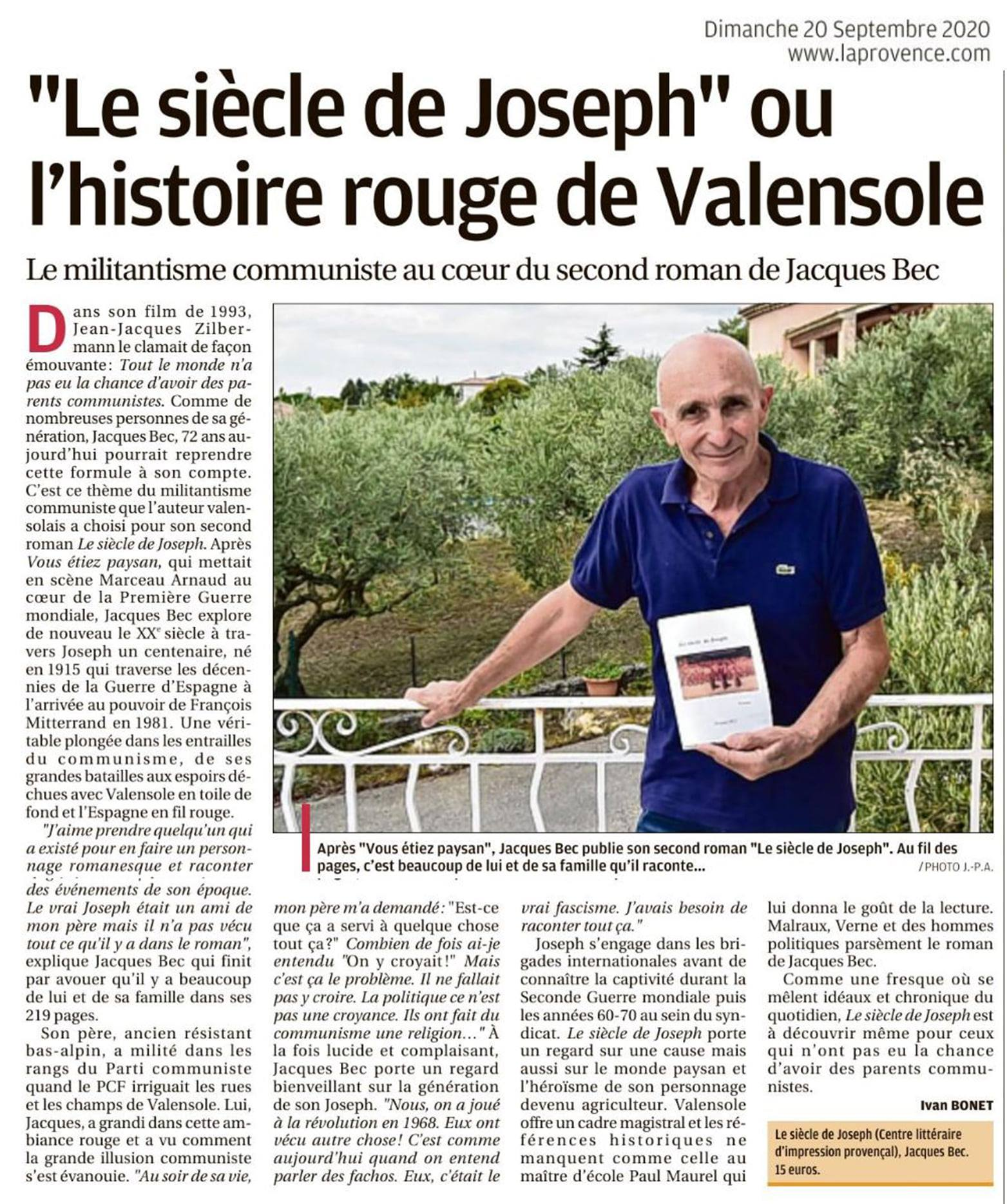 Jacques Bec présente son nouveau roman