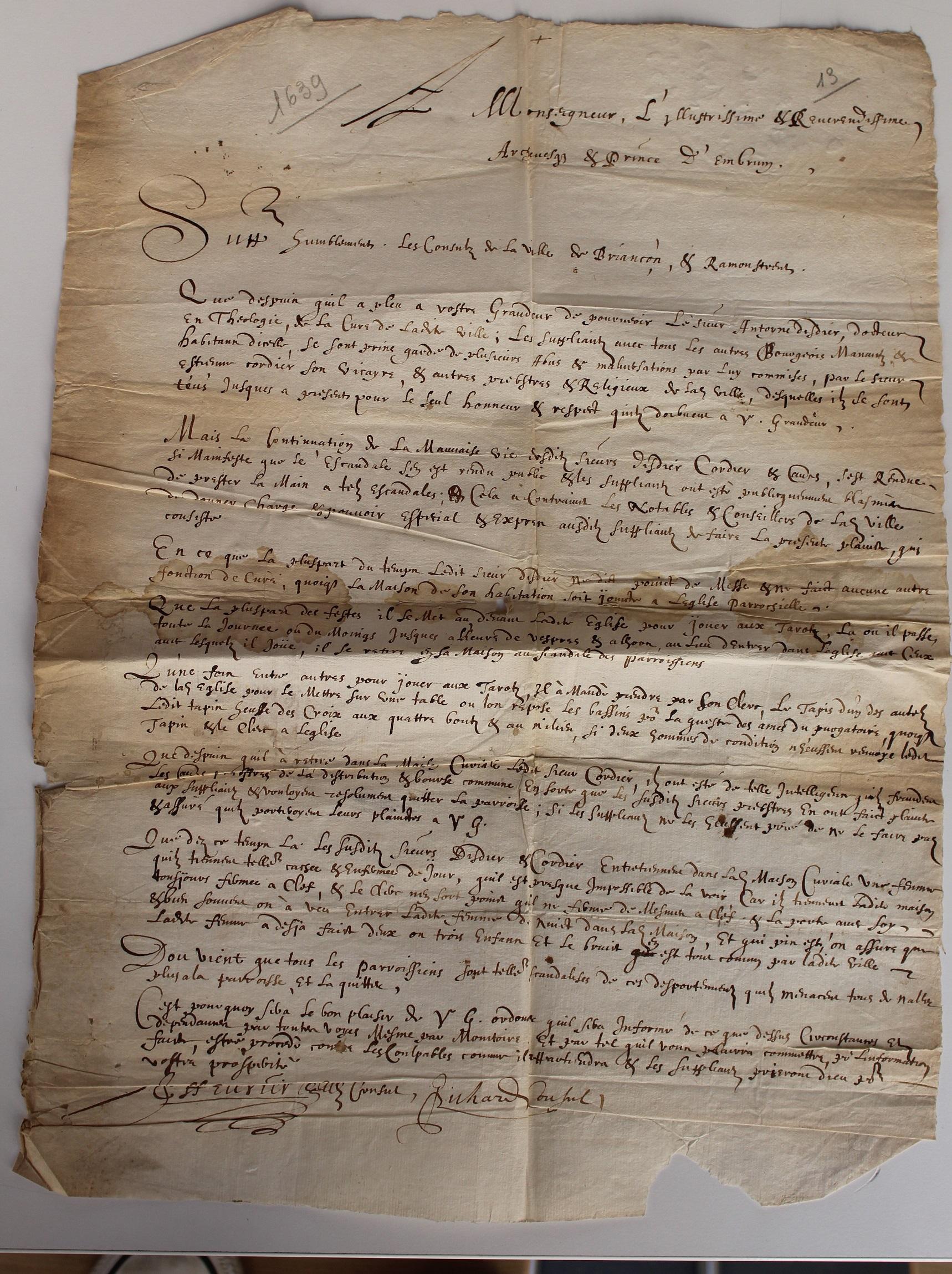 Affaire Antoine DISDIER (curé) 1639