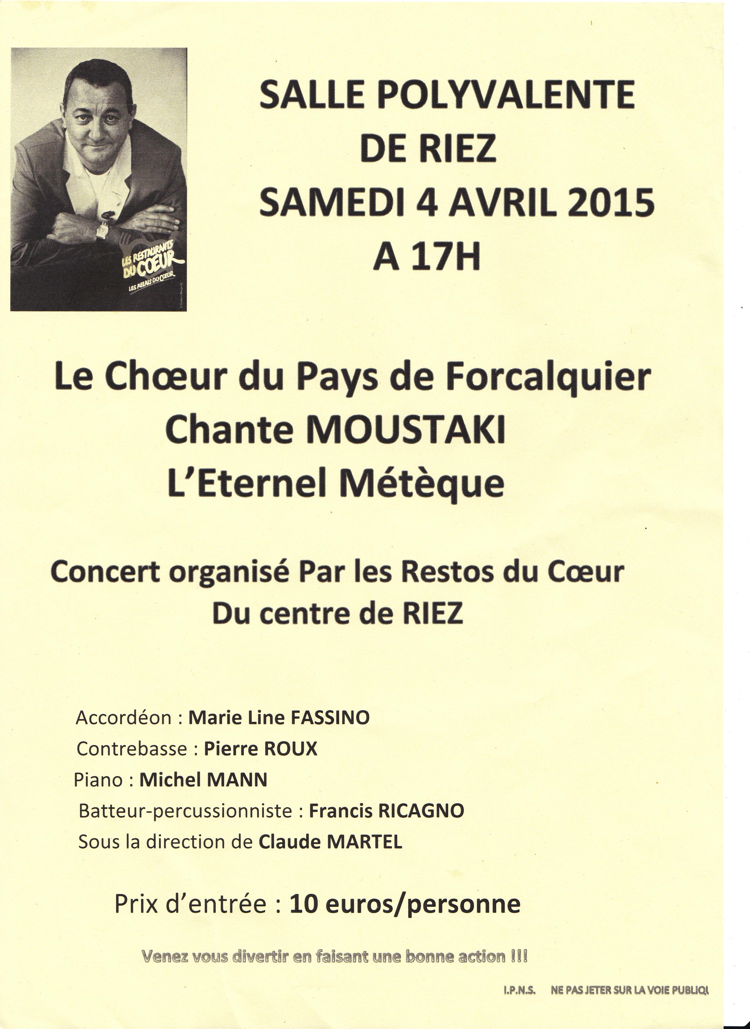 Concert de soutien aux « Restos du Cœur » de Riez par le chœur du pays de Forcalquier