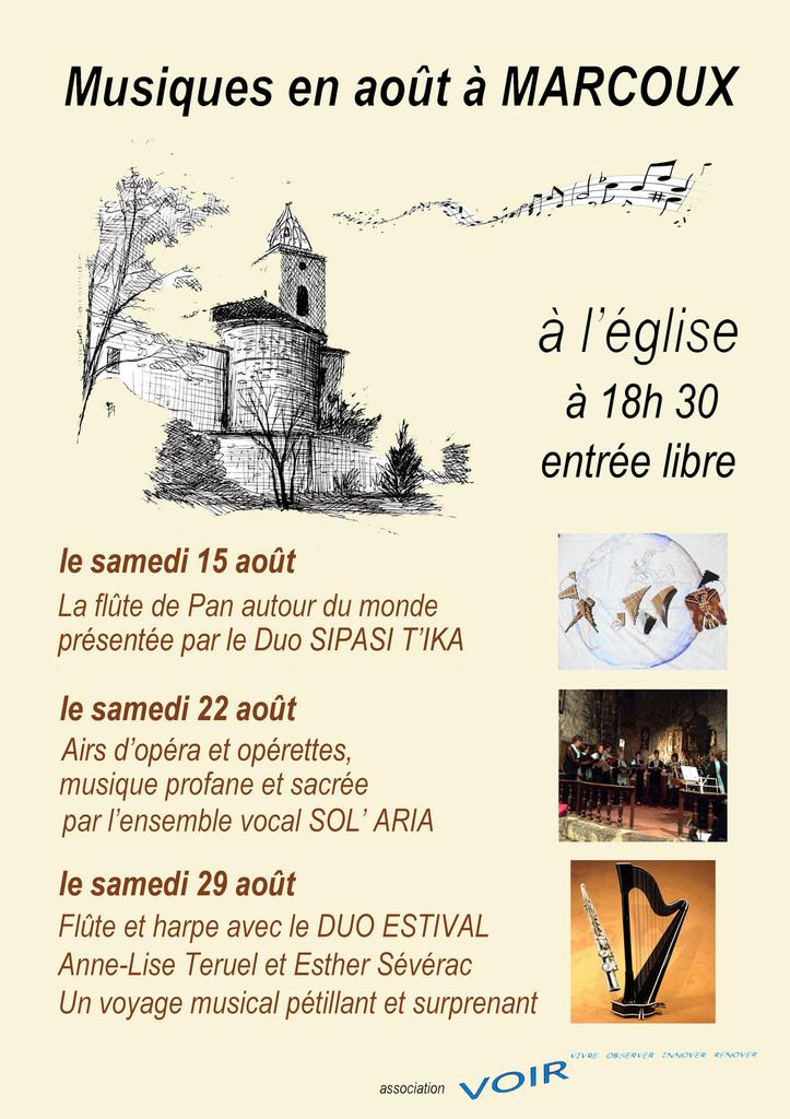 Les samedis 15, 22 et 29 août  Musiques en août à Marcoux