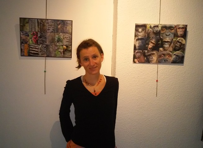 """Lucie Alyre et son exposition 'Entre Forêt et Chimpanzés"""""""