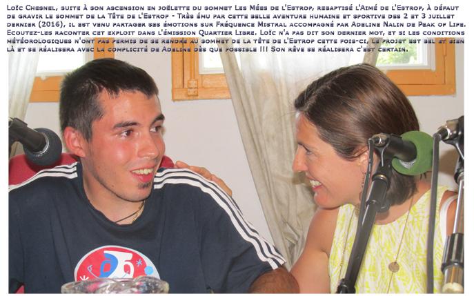 Loïc Chesnel 22ans, et Adeline Nalin de Peak of Life